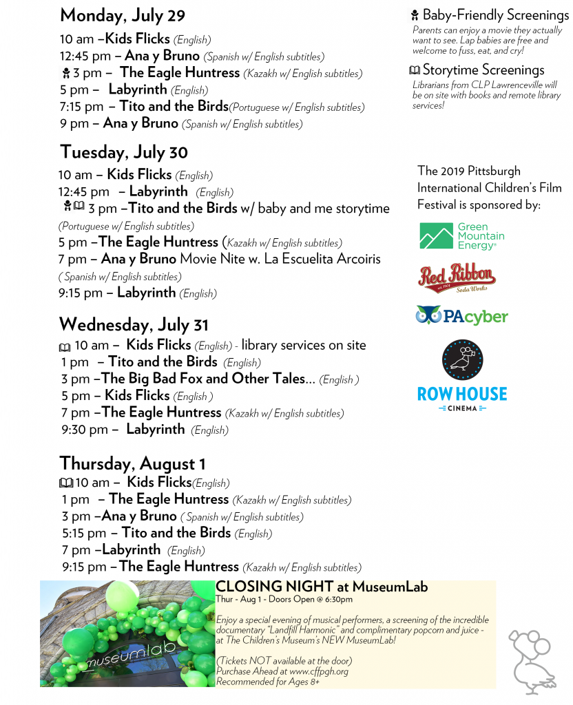Schedule – Pittsburgh International Children's Film Festival